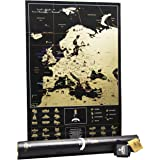 MyMap Deluxe Travel Scratch off Europe map - Very Detailed Black large map of Europe ! Gift for Travelers Push pin poster with Gift Tube