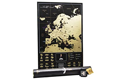 Black Map Of Europe.Amazon Com Mymap Deluxe Travel Scratch Off Europe Map Very