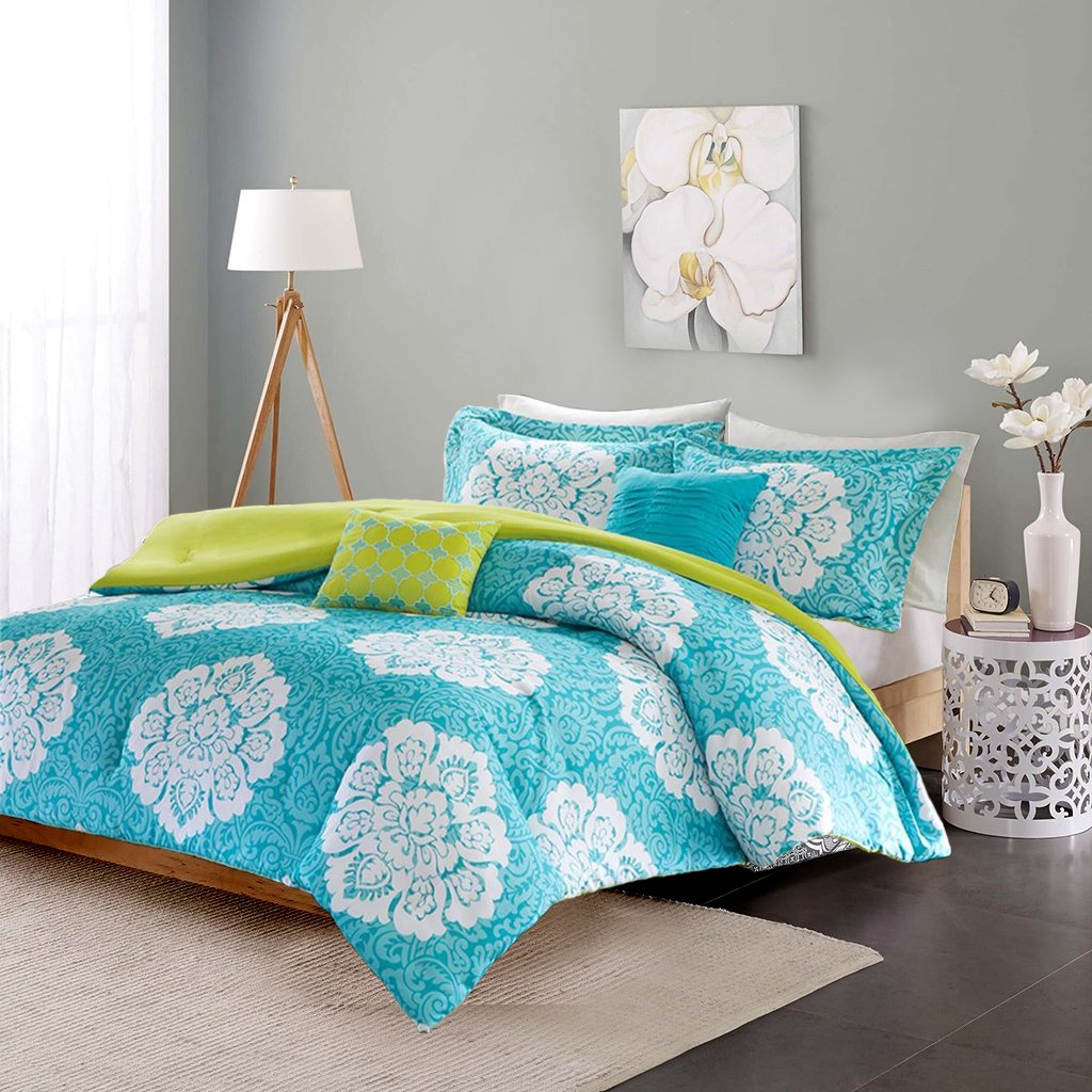 Modern Teen Bedding Girls 4 Piece Reversible Comforter Set Aqua Teal Blue Lime Green Floral Damask Print. Includes Bonus Sleep Mask From Designer Home. (Twin/twin Xl) by ID (Image #1)