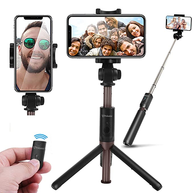 save off c1599 f857f Selfie Stick Tripod POKANIC Bluetooth Wireless Remote Control Extendable  Adjustable Stand Mount Compatible with iPhone Xs Max, XR,X, 8 Plus,7 Plus  ...