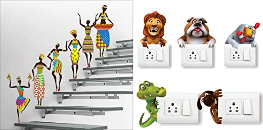 Wall Stickers Tribal Lady (Covering Area 180 x 60 cms) with Animals (Set of -5) Switch Board Sticker