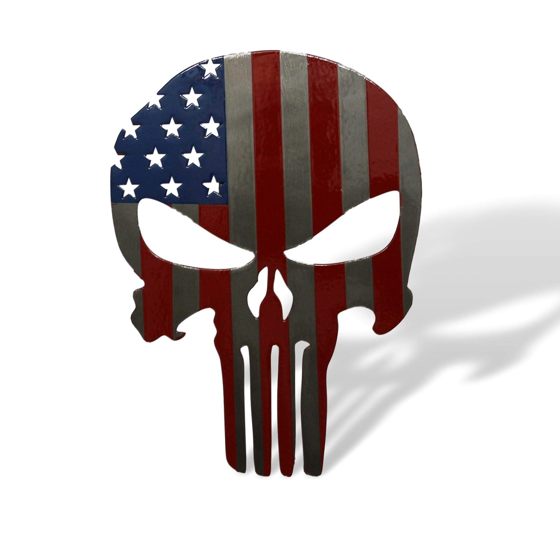Fox MetalFab Powder Coated Steel Punisher Trailer Hitch Cover/Insert (American Flag) by Fox MetalFab
