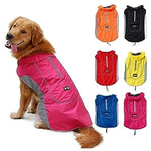 TFENG Giacca impermeabile per cani Giacca calda per cuccioli con fodera in pile 6 colori XS-3XL