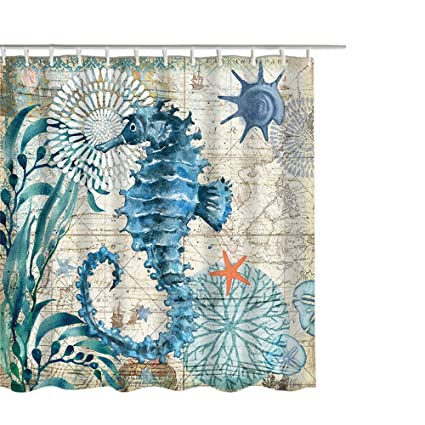 Blue Ocean Shower Curtain 72 Inch Seahorse And Teal 3D Animals 100