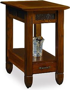 SlatestoneOak Chairside End Table - Rustic Oak Finish