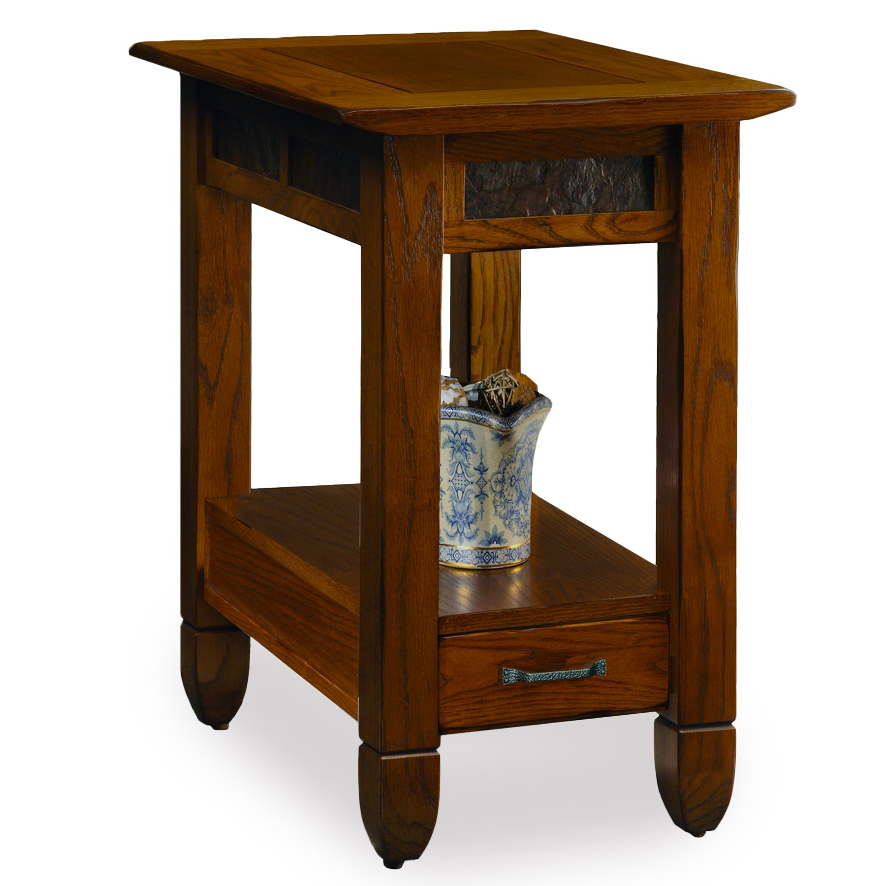 Slatestone  Oak Chairside End Table - Rustic Oak Finish by Leick Furniture