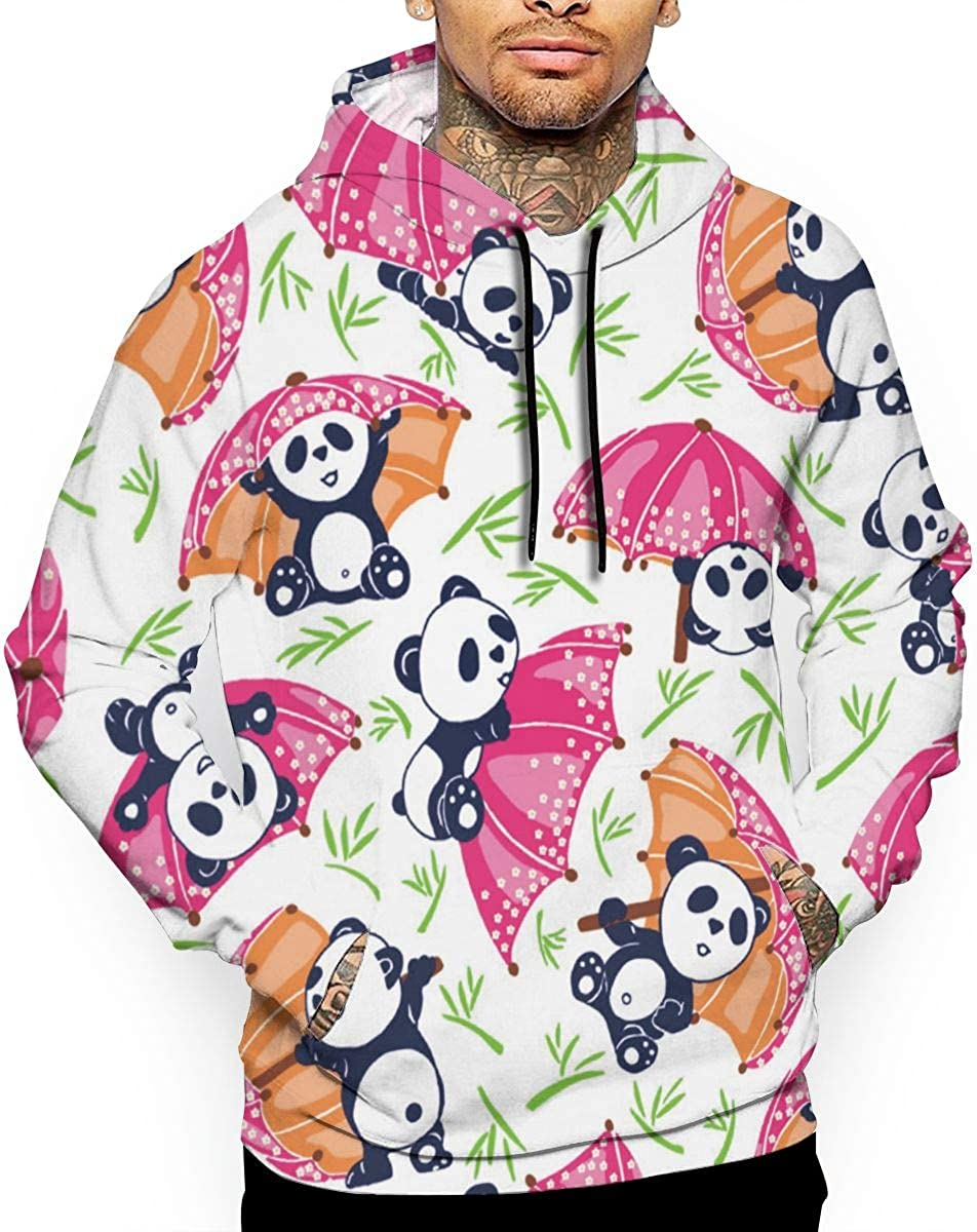 Panda Bamboo Umbrella Mens Front Pouch Pocket Pullover Hoodie Sweatshirt Long Sleeves Pullover Tops