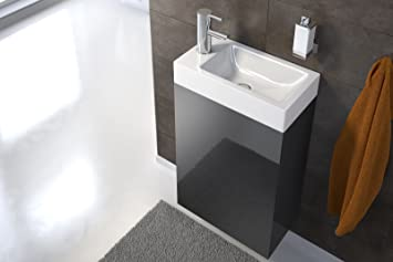 SAM Waschplatz Vega, 40 x 22 cm, Badezimmer, schmaler Waschtisch in Schwarz  Hochglanz, Waschbecken aus Keramik