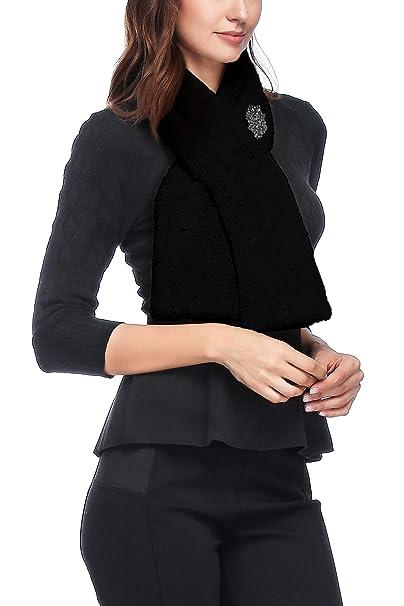 Women Luxury Faux Fur Shawl Wrap Cape Scarf Neck Warmer for Winter