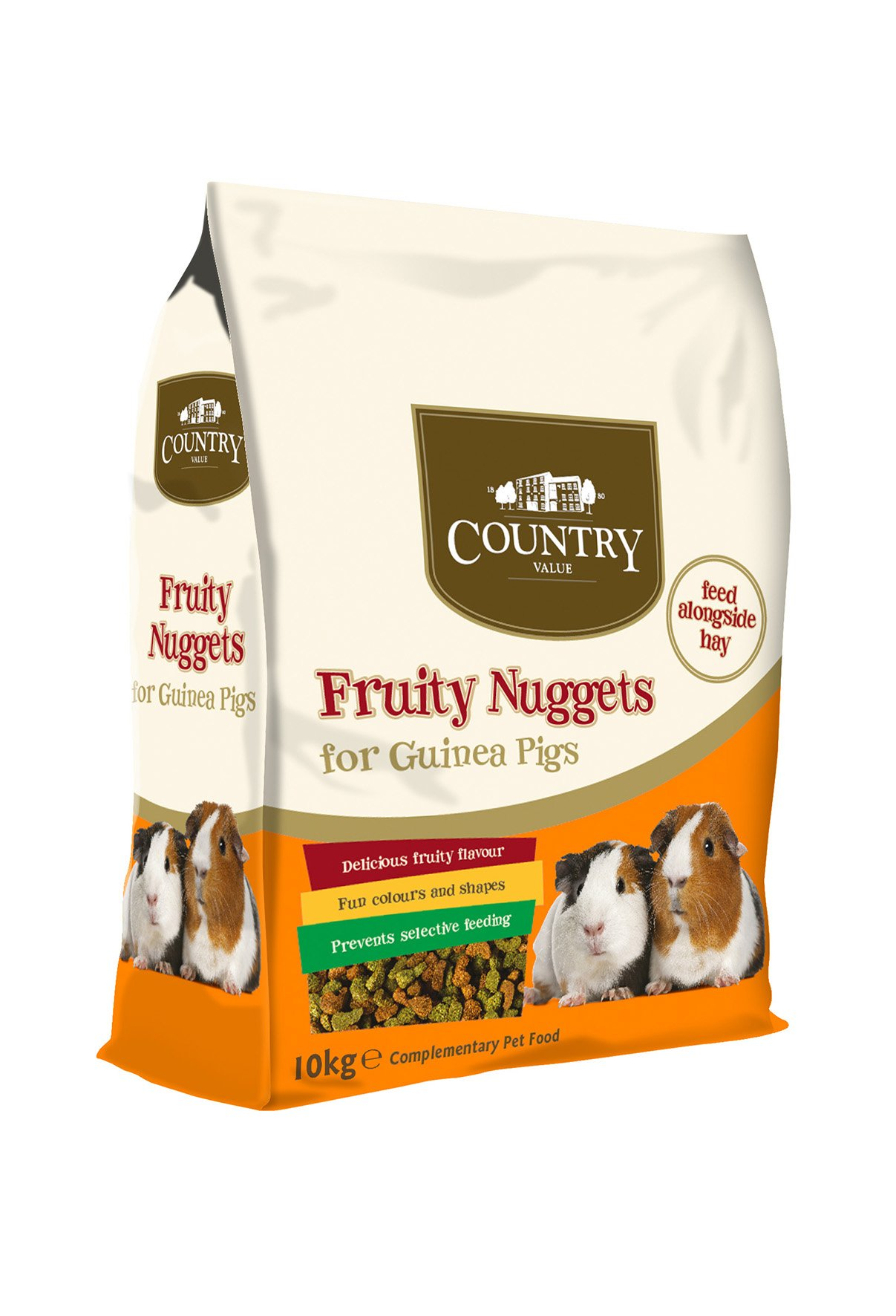 Country Value Fruity Fibre Nuggets For Guinea Pigs, 10kg by GroceryLand