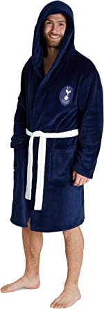 Tottenham Hotspur F.C. Unisex Dressing Gowns, Men Spurs Fleece Hooded Robe S-3XL