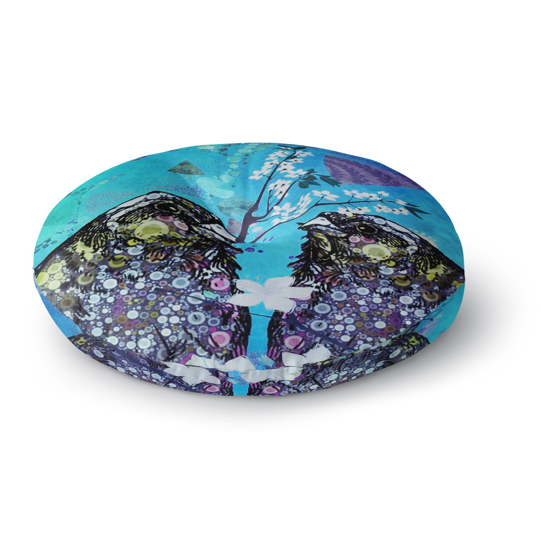 Kess InHouse alyZen Moonshadow Birds in Love Blue Navy Purple Round Floor Pillow 26