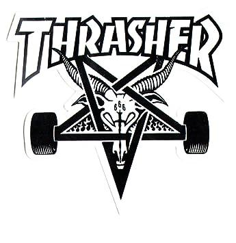 Thrasher Magazine Skate Goat Pentagram Skateboard Sticker 9 X 10cm White Black