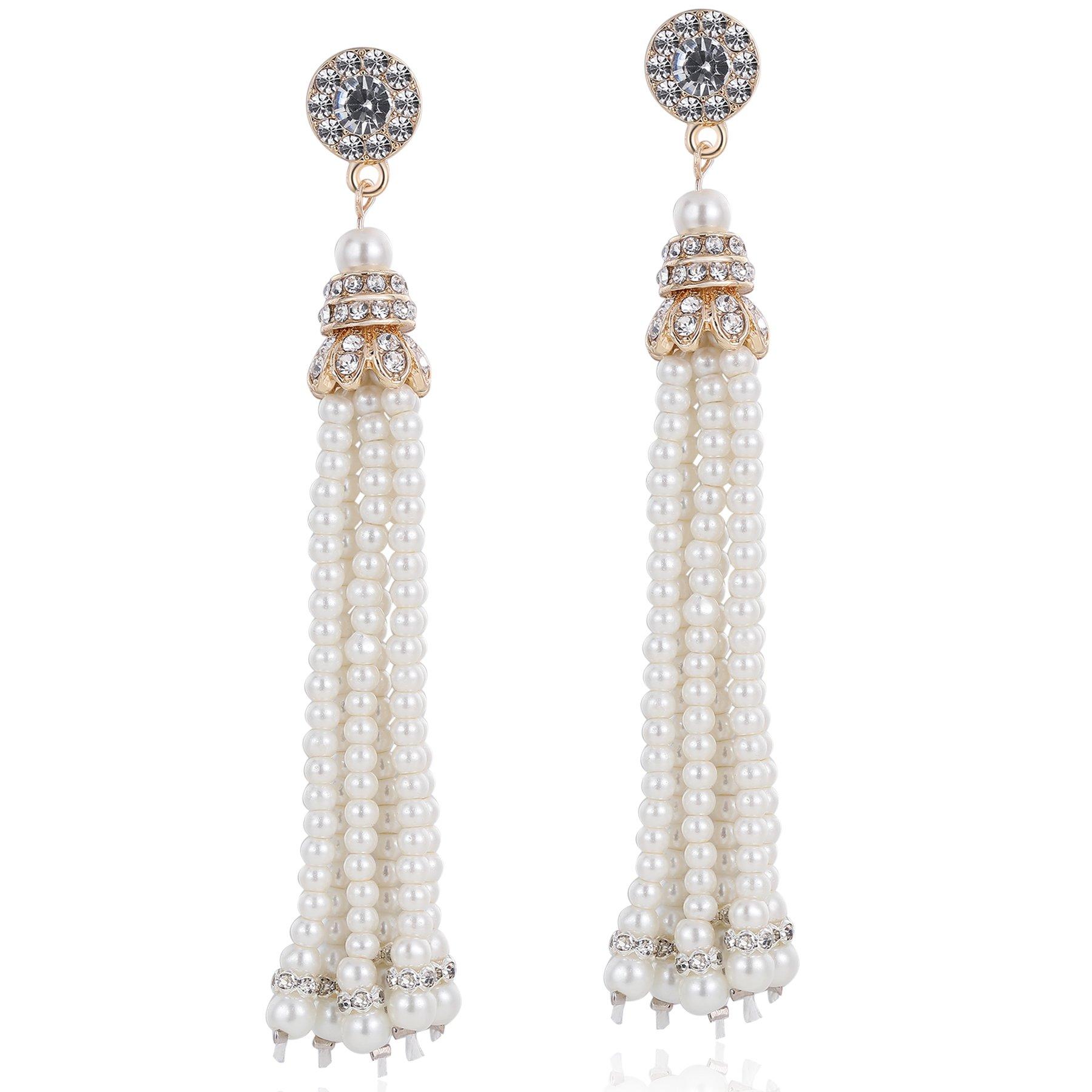 BABEYOND 1920s Flapper Imitation Pearl Earrings 20s Great Gatsby Pearl Tassel Earrings Vintage 20s Flapper Gatsby Accessories (Gold)