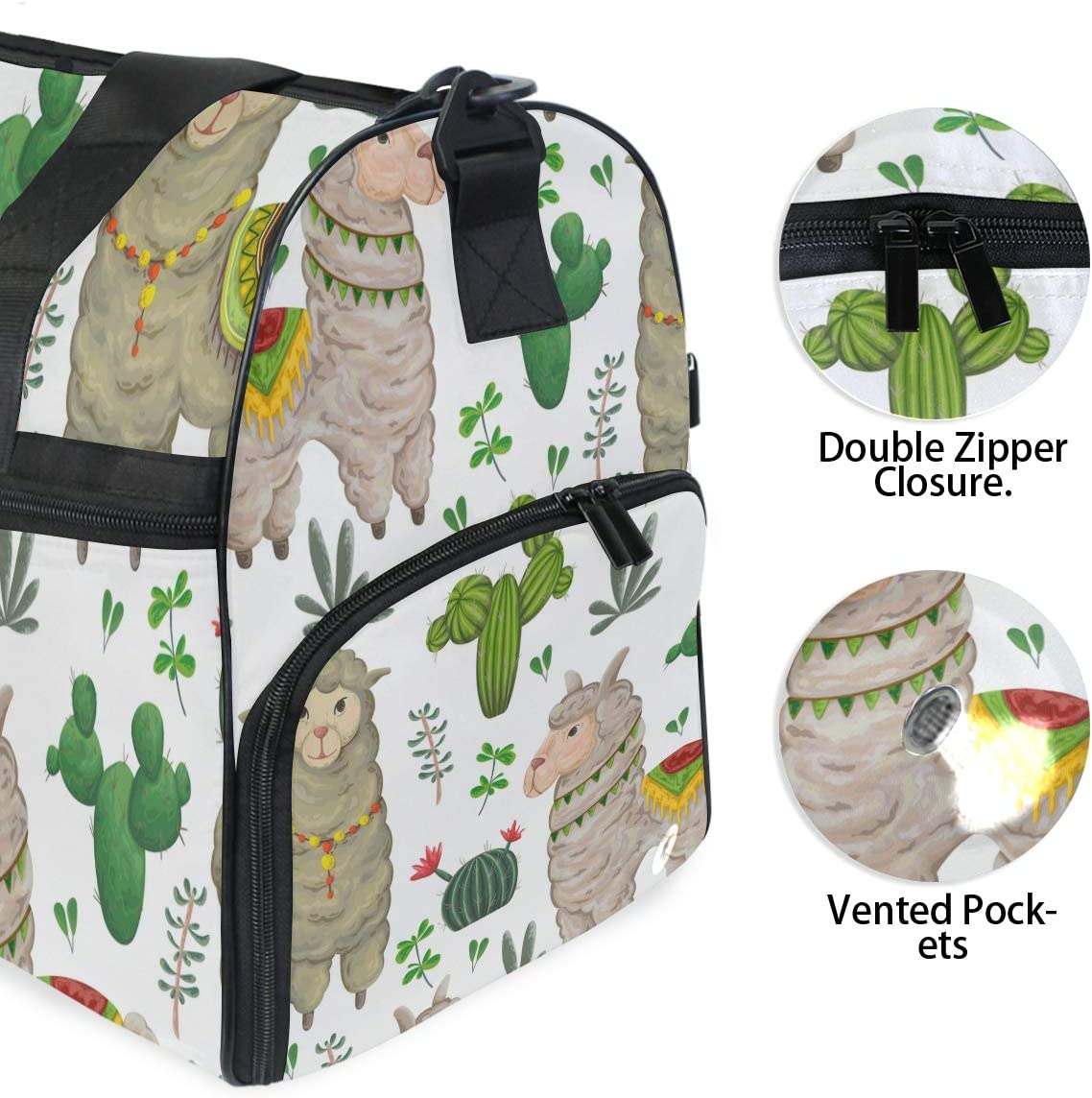Travel Duffels Lama Animal Duffle Bag Luggage Sports Gym for Women /& Men