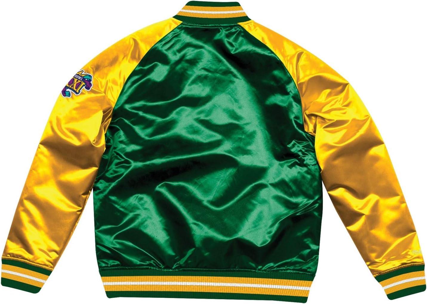 Mitchell /& Ness Green Bay Packers NFL Tough Season Premium Satin Jacket