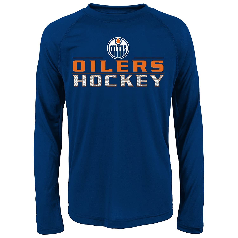 NHL Oilersパフォーマンス長袖Tee L ブルー   B01LYSC1UY
