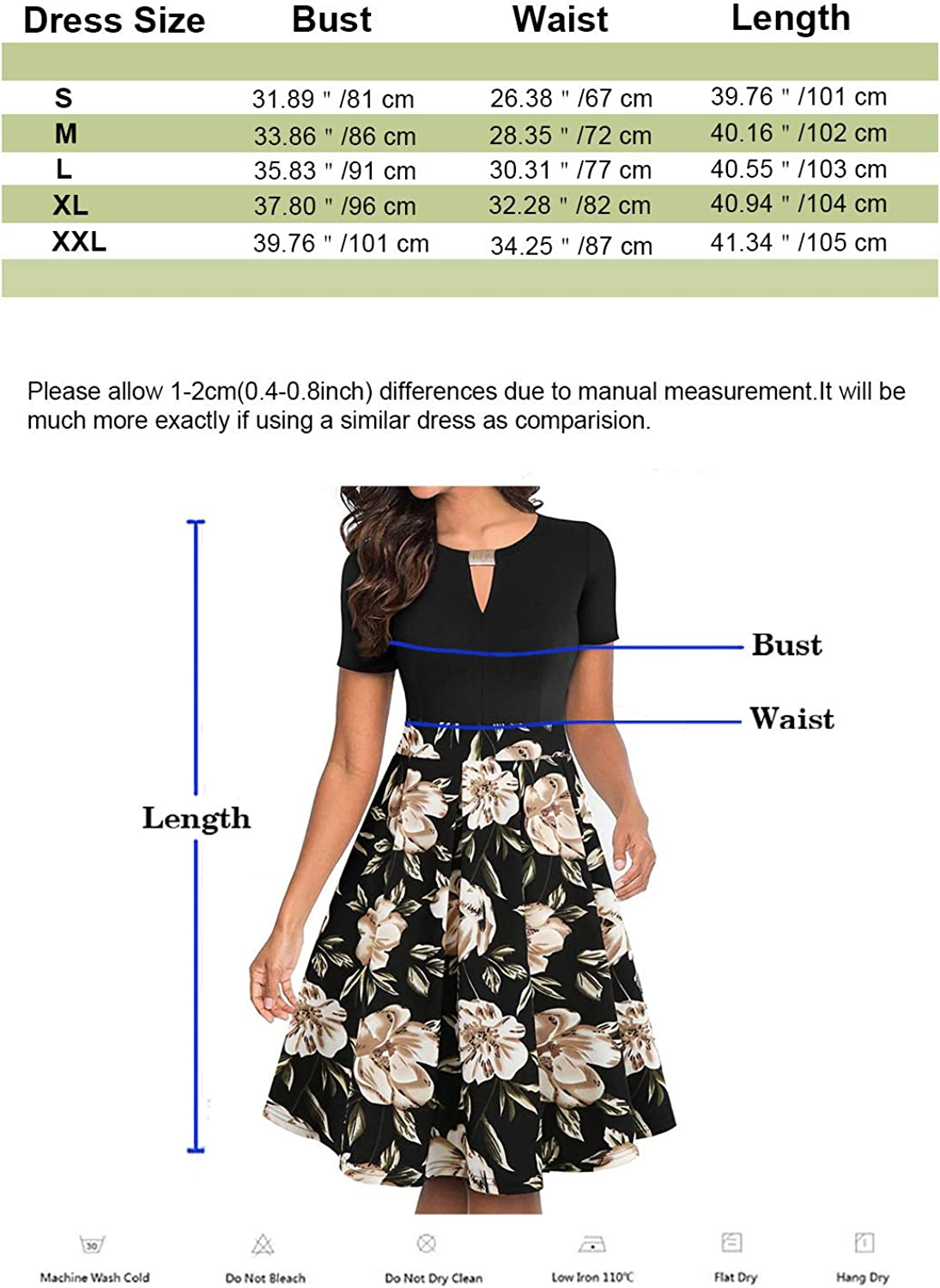 ihot Womens Vintage Floral Flared A-Line Swing Casual Party Dresses with Pockets