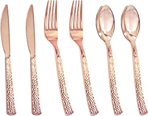 Nervure 300 Piece Rose Gold Hammered Plastic Silverware Set, Heavyweight Disposable Plastic cutlery (100 Forks,100 Knives,100 Spoons) Perfect for Parties, Weddings & Catering Events (Rose gold)