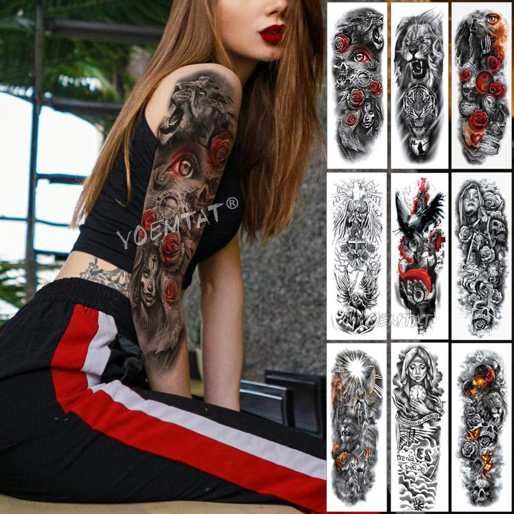 Tatuajes De Manga De Brazo Grande Catrina Red Eye Rose Tatuajes ...