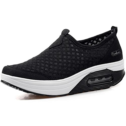 3b3971bab7cd9 GFONE Women s Mesh Wedge Platform Loafers Running Trainers Walking Shoes  Sneakers Fitness Shoes