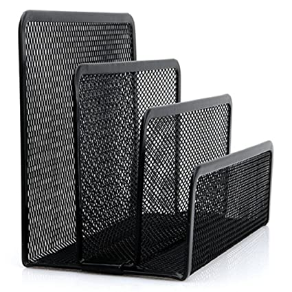 Yinpinxinmao Black Mesh Office File Holder Organiser Paper Document Tray Letter Desk Sorter