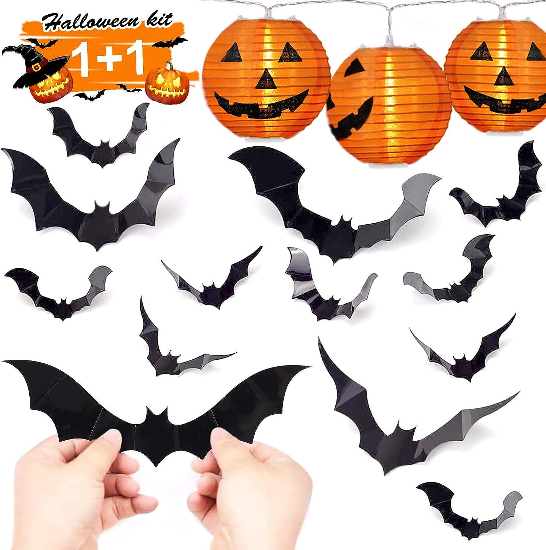 HexyHair Halloween Decorations Indoor - Pumpkin String Lights and Bat Stickers Set for Halloween Party Room Decor (10 LED Jack-O'-Lantern 7ft, 3D Bats Wall Decals 36pcs)