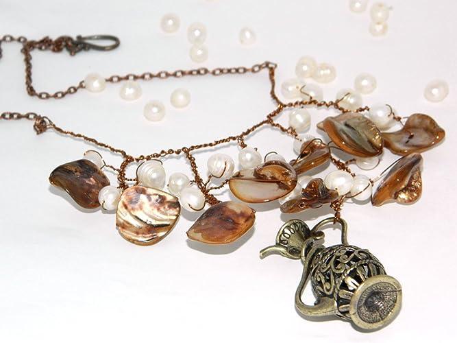 Perle Halskette Meer Flasche Halskette Meerjungfrau Draht Schmuck ...