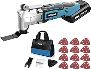 WESCO 20V Cordless Oscillating Tool Kit, 2.0 Ah Oscillating Multi-Tool, 3° Oscillation Angle, 6 Variable Speed 5000~20000 OPM, 16-Piece Universal Accessoriesy Kit for Sanding Cutting/WS2355KU