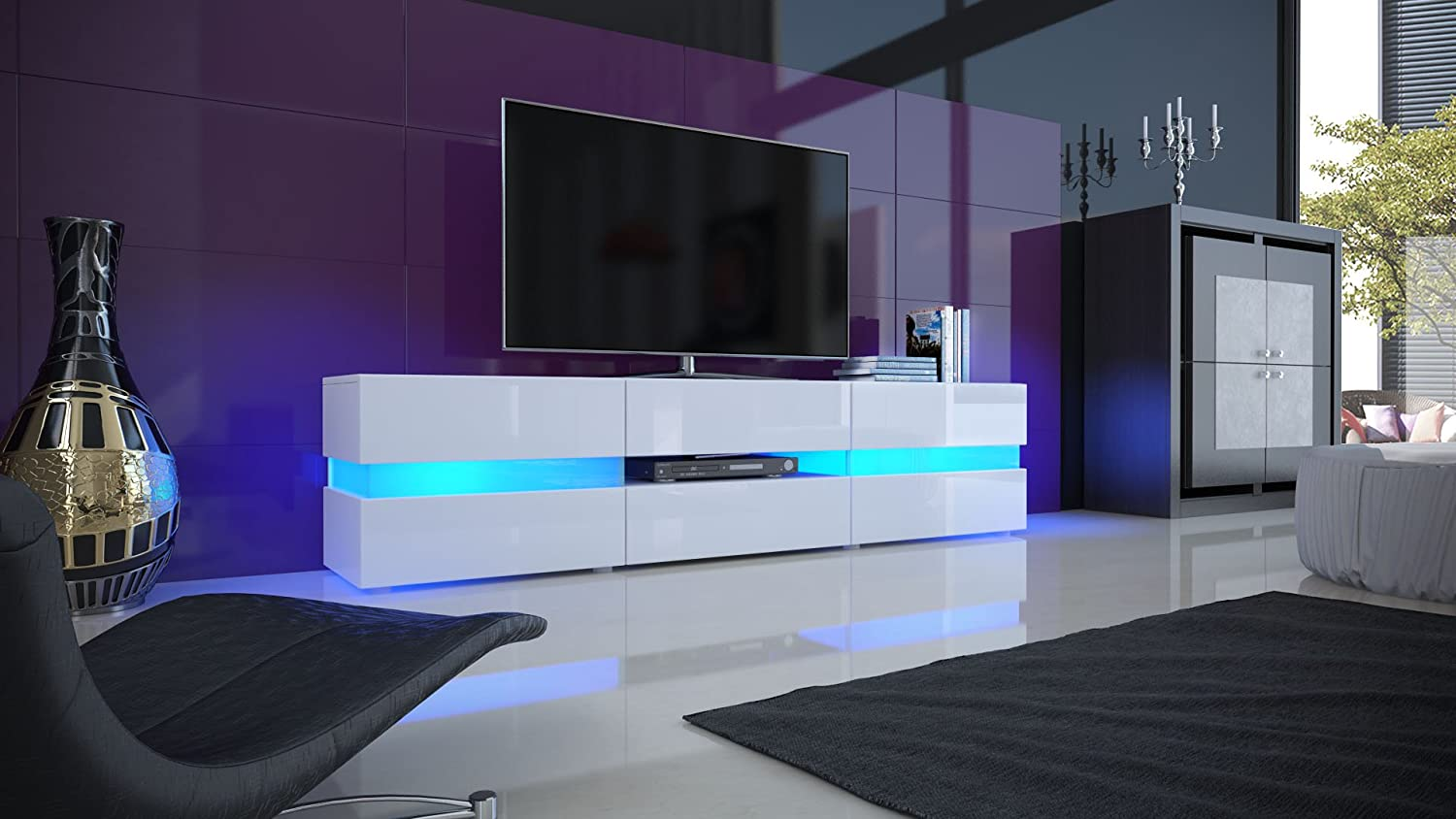 led light tv tv unit cabinet flow carcass in white matt front high gloss with