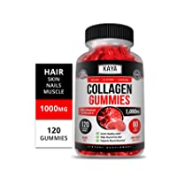 Kaya Naturals Collagen Gummy for Men & Women, 120 Count, 1000mg of Hydrolyzed Collagen, Vitamin C, Selenium & Biotin, Collagen/Strawberry Flavor (120 Gummies)