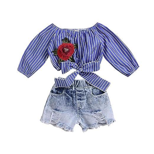 900d1226b Toddler Kids Baby Girl Flower Off Shoulder Blue Striped Tops+Short Denim  Outfits (3T