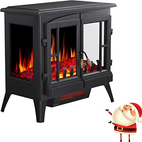 Joy Pebble Free Standing Electric Fireplace Stove With Realistic Log Flame Effect Far Infrared Heating Technology Separate Flame Switch 1000 1500w Three Sides Appreciate Fire Bottom Air Outlet Amazon Ca Home Kitchen