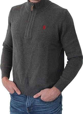 02dbd97323fe U.S. Polo Assn. Herren Troyer – Pullover mit Stehkragen – Eleganter Langarm  Strickpullover – Pulli
