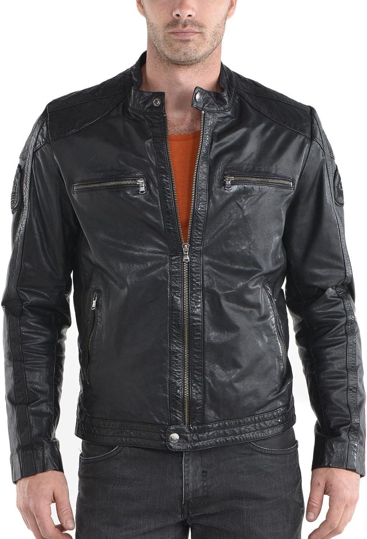 NZSH Mens Leather jacket Genuine Hight Quality Lambskin Biker Coat Slim fit