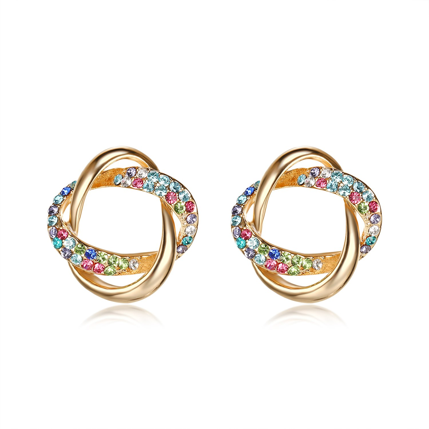Lee Island Fashion Jewelry 18K Gold Plated Multicolor Austrian Crystal Love Knot Stud Earrings For Woman Girl-Halloween Costumes Princess Earrings B07C3QLSLK_US