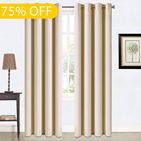 Balichun 2 Panels Blackout Curtains Thermal Insulated Grommets Darkening  Drapes For Bedroom/ Living Room 52