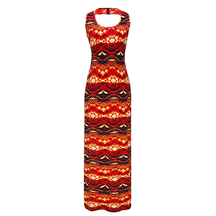 Amazon.com: Eloise Isabel Fashion desgaste mulheres dress hippie boho vintage longo elegante bodycon lápis impresso backless vestidos das senhoras plus ...