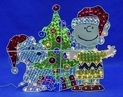 roman 48 peanuts snoopy charlie brown lighted christmas yard art decoration - Snoopy Outdoor Christmas Decorations