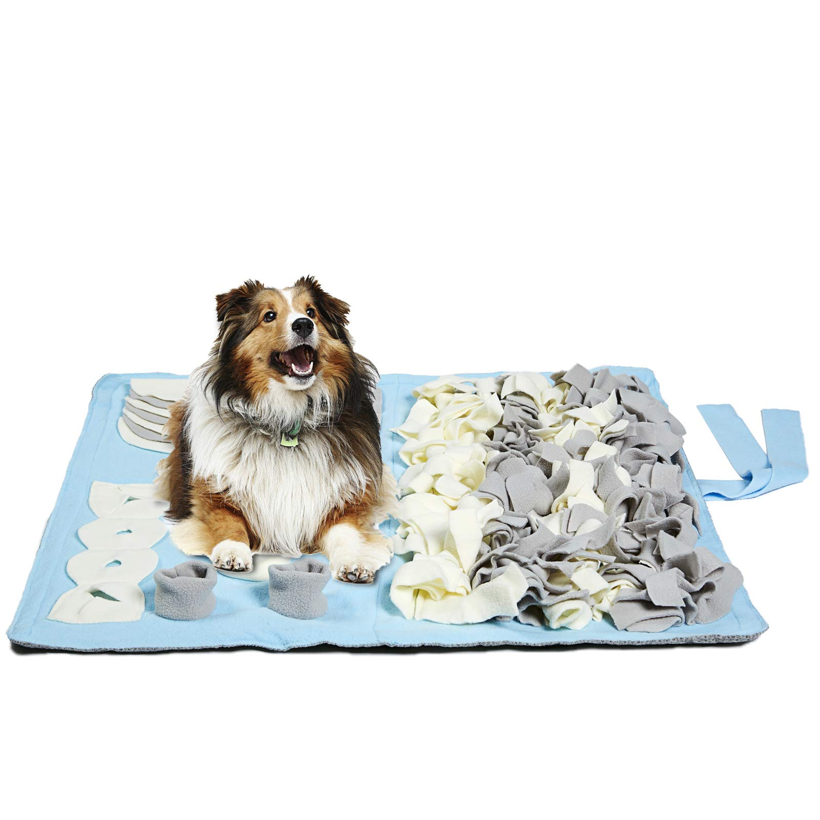 Petvins Dog Feeding Mat Snuffle Nose Work Training Foraging Mat Pet Activity Blanket Slow Feeder Bowl Stress Release Pad Blue