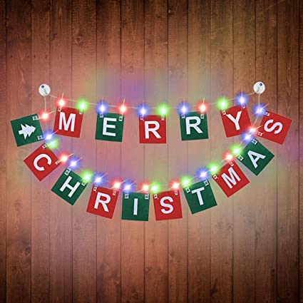Merry Christmas Lights.Merry Christmas Banner With 9 8ft Led Photo Clip String Lights Powered By 2 Aa Battery Not Included 30 Photo Clips For Christmas Party Home