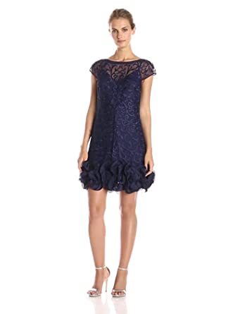 Jessica Simpson Women&-39-s Short-Sleeve Lace Ruffle Hem Dress at ...