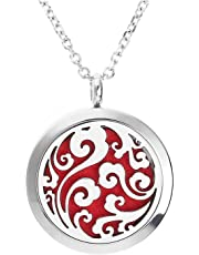 SODIAL Aromatherapy Essential Oil Diffuser Necklace Stainless Steel Locket Pendant Ring with & 6 Felt Pads clouds