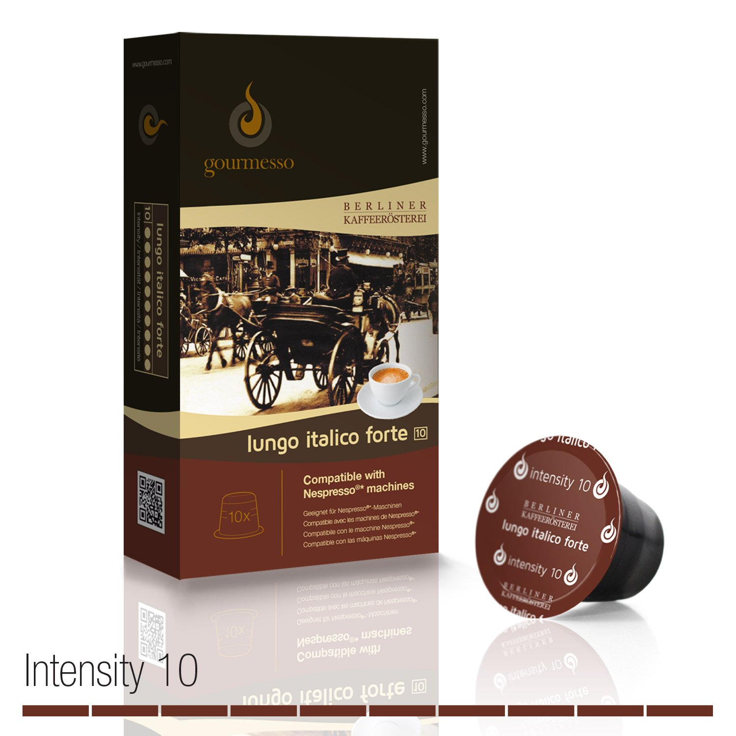 Amazon.com : Gourmesso Lungo Italico Forte by Berlin Coffee Roasters - 50 Nespresso Compatible Coffee Capsules | High Intensity : Grocery & Gourmet Food