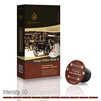 Gourmesso Lungo Italico Forte by Berlin Coffee Roasters - 100 Nespresso Compatible Coffee Capsules | High