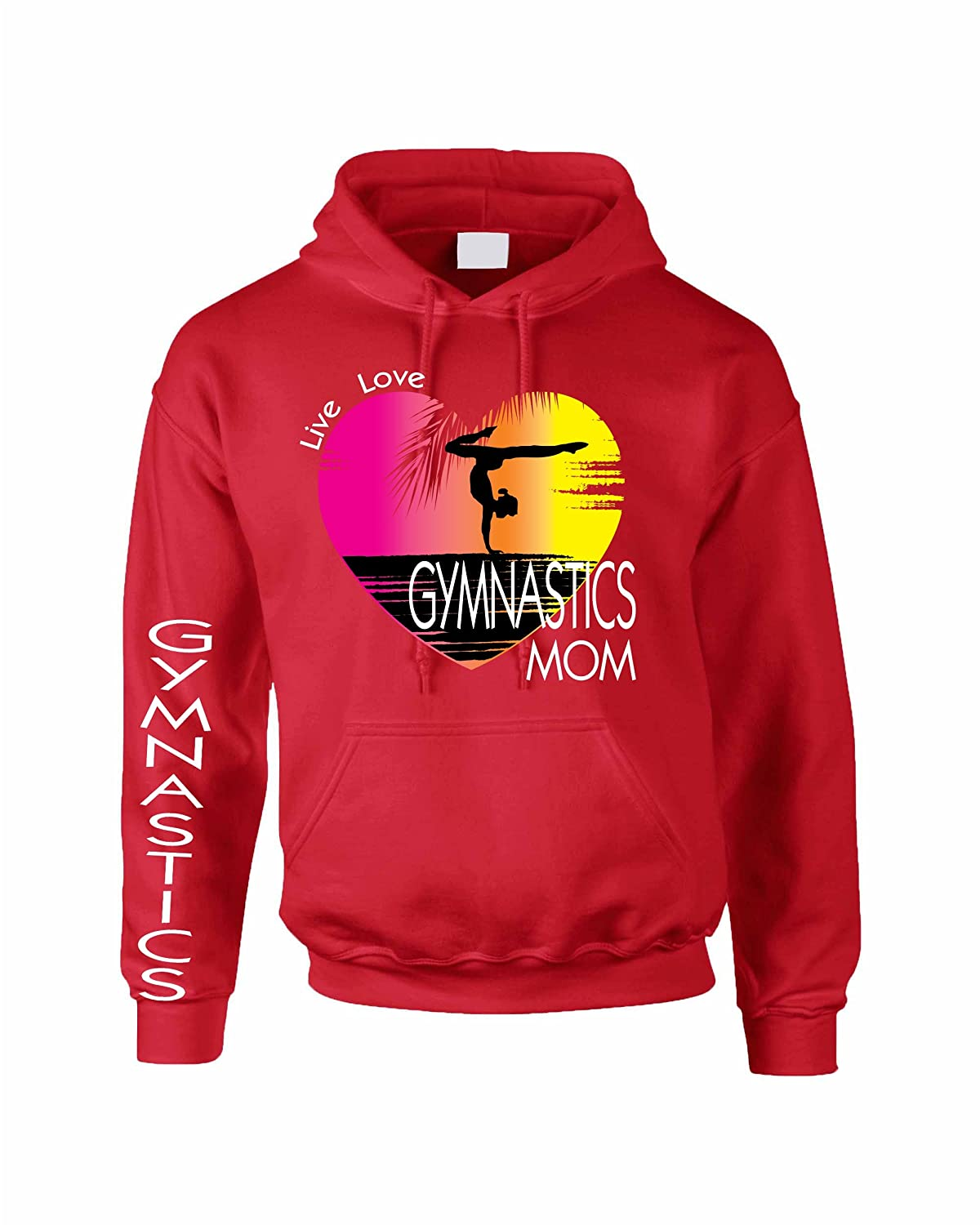 Allntrends Adult Hoodie Sweatshirt Gymnastics Mom Pink Print Gym Top