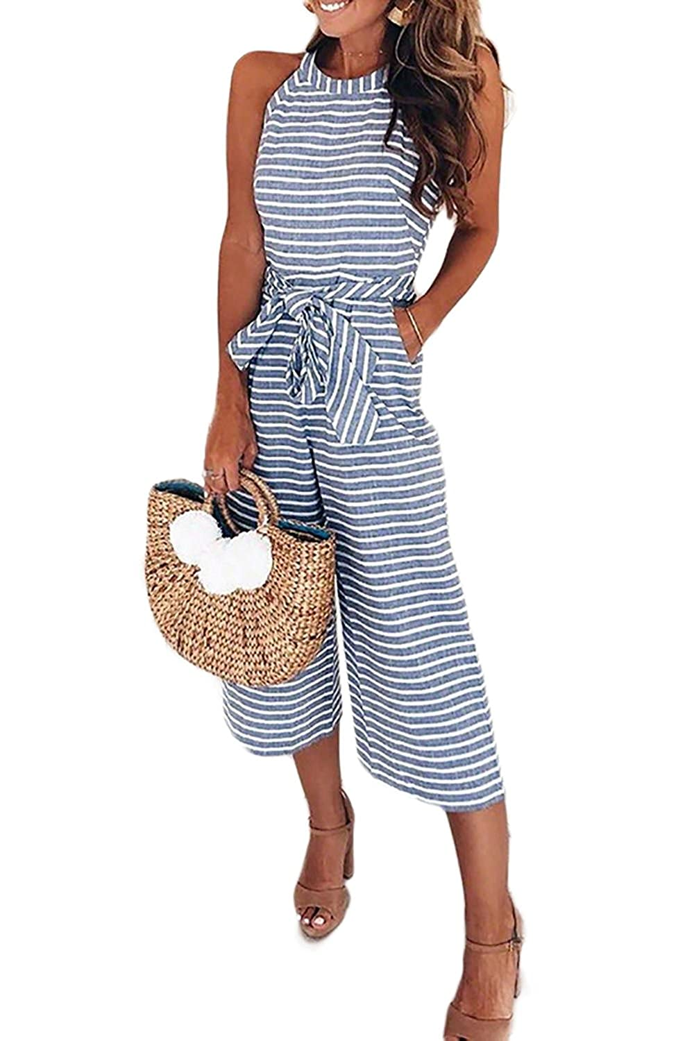 b1dfe68ab51 Amazon.com  Alelly Women s Summer Jumpsuits Striped Tie Back Sleeveless  Backless Wide Long Pants Rompers  Clothing