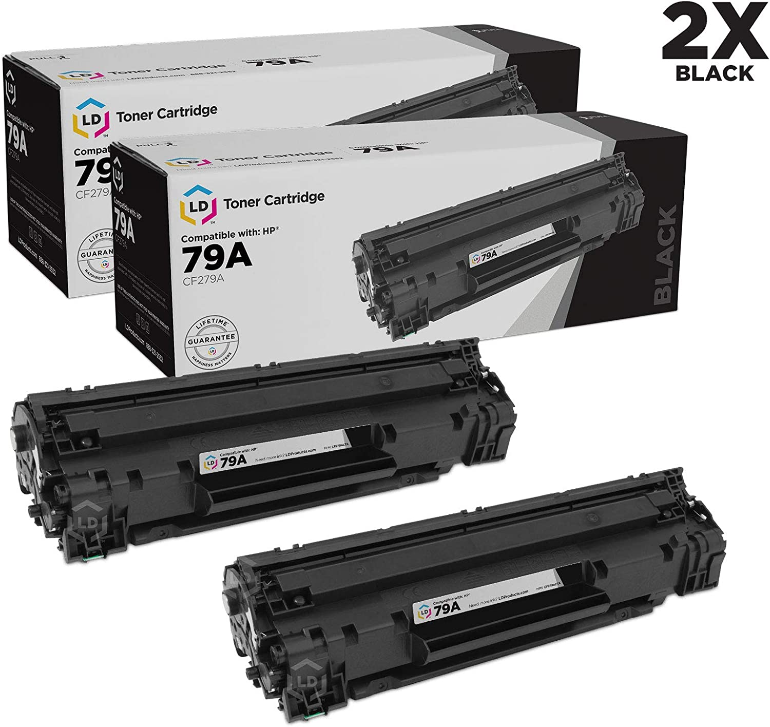 LD Compatible Toner Cartridge Replacements for HP 79A CF279A (Black, 2-Pack)
