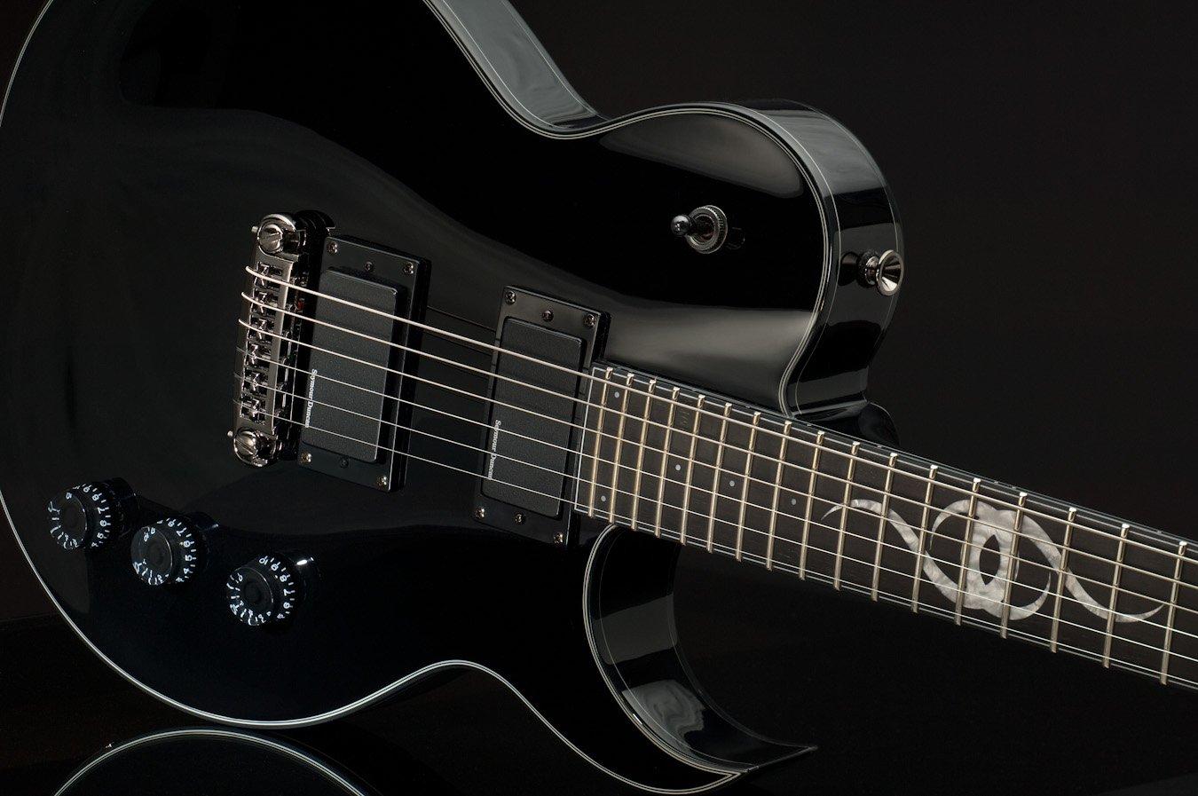 Ethan Hart Guitar EH-1 Black Single Cutaway with White Binding