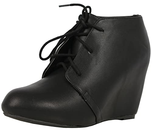 cd3963a3b9 SODA Women's Derry Faux Leather Lace Up Hidden Wedge Oxford Ankle Bootie,  Black, 6.5